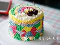 彩虹奶油裱花生日蛋糕