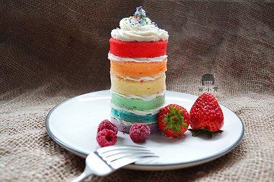 迷你彩虹裸蛋糕