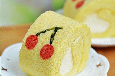 彩绘樱桃奶油蛋糕卷